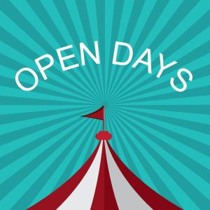 Open days big top tent and green sunburst