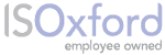 IS Oxford logo, grey IS and lilac Oxford words, followed by 'employee owned'