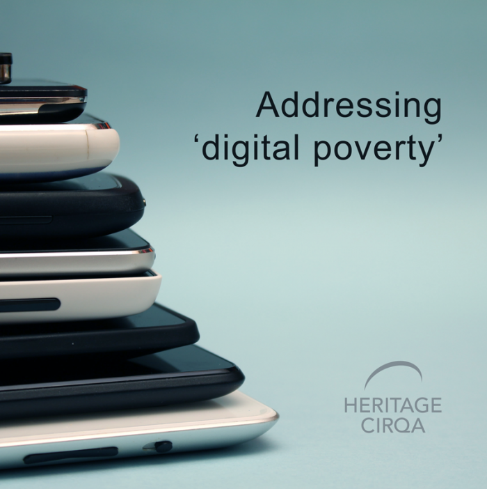 chrome books and devices in a pile with the Heritage Cirqa logo and digital poverty headline